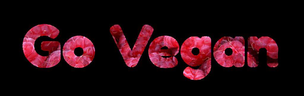Slogan Go Vegan in rode letters